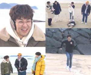 '1박 2일' 딘딘, 2020 KBS 연예대상 우수상 수상 공약 겨울바다 입수 장면 공개